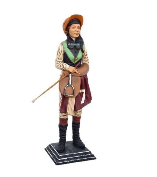 Replica statue of a horse racing jockey