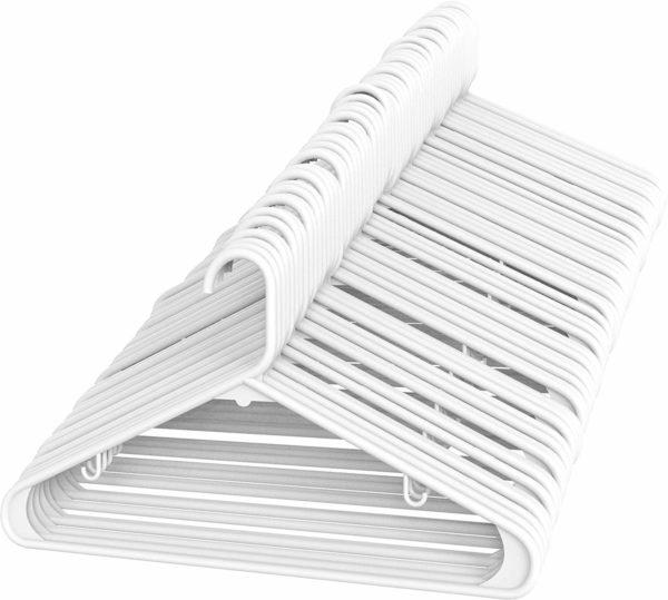 Set of 50 white plastic coat hangers